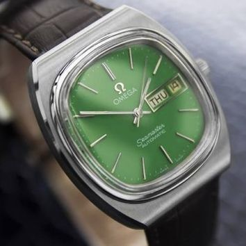 Men's vintage OMEGA SEAMASTER day date automatic, green dial, c.1970s #161