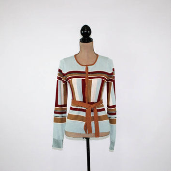 70s Belted Cardigan Sweater Beaded Geometric Women Small 1970s Clothing Brown Light Blue Womens Cardigan Vintage Clothing Womens Clothing