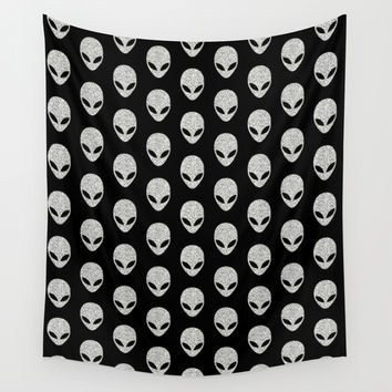 Glitter Grey Aliens Wall Tapestry by Octavia Soldani