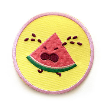 crying watermelon embroidered patch