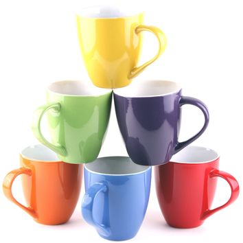 Francois et Mimi 16-Ounce Ceramic Coffee Mugs, Large, Solid, Set of 6