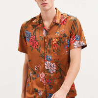 UO Liam Satin Short Sleeve Button-Down Shirt | Urban Outfitters