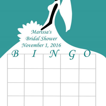 Teal Bridal Shower Bingo Cards
