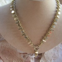 Victorian Book Chain Necklace in Gold Fill