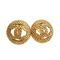 Chanel Vintage Gold CC Textured Earrings