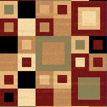 Dynamic Rugs Yazd Red-Sage Modern Rectangle Area Rug