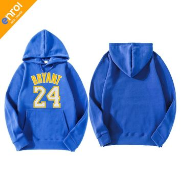 Kobe Bryant Retires Jerseys Skateboarding Hoodies Cotton Material Print 24# Logo Long Sleeve Sports Hoodie Free Shipping