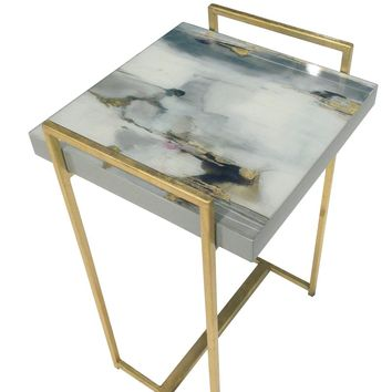 Blue and Gold Watercolor Table