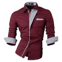jeansian Men's Slim Fit Long Sleeves Casual Shirts 8017
