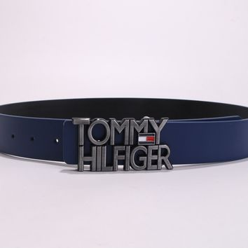 """Tommy Hilfiger"" Unisex Fashion Classic Multicolor  Metal Plate Buckle Belt"