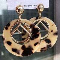 FENDI Stylish Women Retro Personality Leopard Grain Pendant Earrings Accessories Jewelry