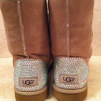Swarovski Crystal Embellished Classic Tall UGG Boots / Winter Boots in Chestnut - Winter/Holiday 2013