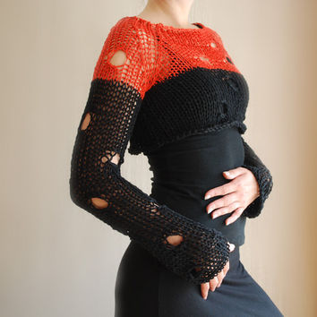 Knitted Cropped Sweater in Orange and Black with holes / Bolero Shrug / Women's Clothing / Sizes XS-XL / Free shipping
