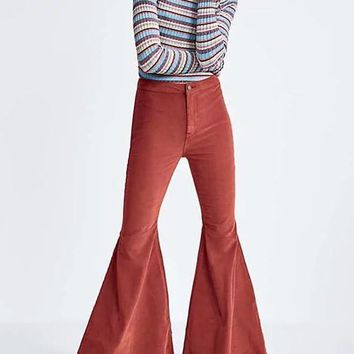 New Caramel Buttons Pockets High Waisted Casual Bell Bottomed Flares Long Pant