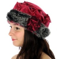 HauteChicWebstore Rosette and Faux Fur Brim Decorated Wool Pillbox Hat Fuchsia - www.shophcw.com
