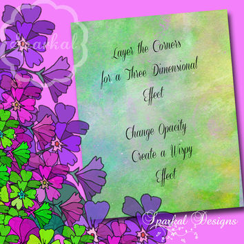 Floral Clipart, Vintage Flower elements and Invitation Clip art, Corner Clipart, Floral Corners, Purple, Pink , Scrapbooking Corner Clipart