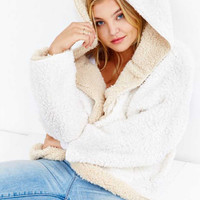 White Reversible Faux Fur Hooded Coat