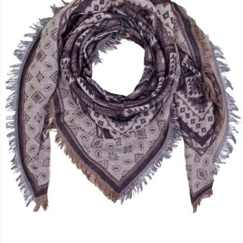 Aquare Multi Pattern Scarf- Taupe