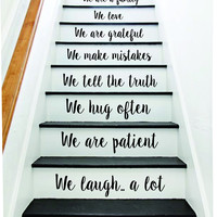 In This House Stairs v4 Quote Wall Decal Sticker Room Art Vinyl Joy Peace Happy Family Home House Staircase Love Beautiful Inspirational