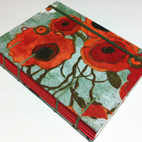 Coptic Stitched Fabric Journal - Handmade - Red Poppies