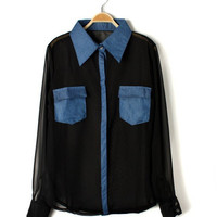 Chiffon blouse with two pockets [276]