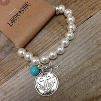 ANCHORED PEARL BRACELET - SILVER