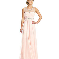 Sequin Hearts Embellished Illusion Yoke Gown - Blush 7