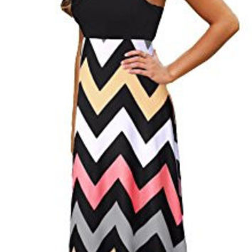 Demetory Women`s Boho Empire Chevron Tank Top Casual Maxi Long Dress