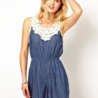 Pepe Jeans Printed Playsuit With Crochet Top at asos.com