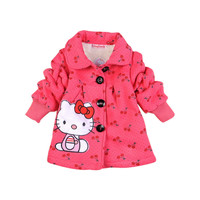 New 2016 Autumn Children Outerwear, girls Hello Kitty Winter Coat, baby& kids jackets, girl's clothing free shipping