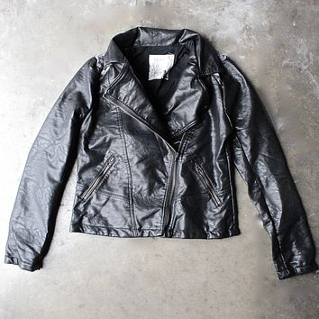 faux leather moto jacket with design