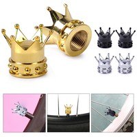 2pcs New Crown Shape Tyre Tire Wheel Valve Stems Caps Ventil Bolt Air Dust Cover Cap Fit for Bike Motorcycle Bicycles