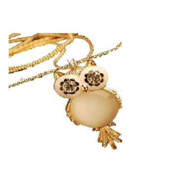 Elegant Beige Crystal-Owl Pendant Necklace For Women