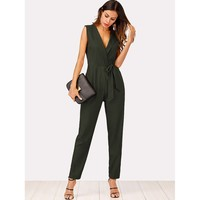 Green V-Neck Sleeveless Knot Jumpsuit