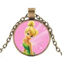 """Cute Bronze Tone """" TinkerBell """" Disc Necklace"""