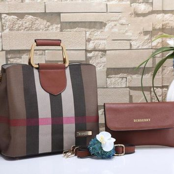 Burberry New Fashion Women Leather Shoulder Bag Satchel Tote Handbag Crossbody Two Piece Set
