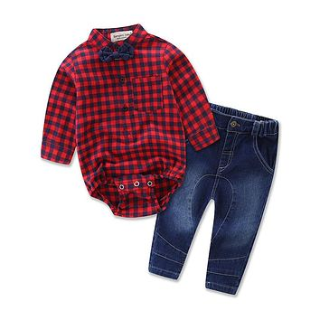 Baby suit set for children's clothing set baby boy's ins fashion clothes cotton Baby plaid romper +jeans