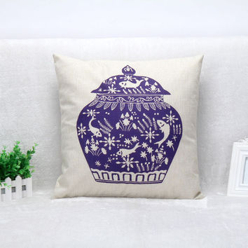 Vintage Printed Pillow Case Chinese Style Blue Jar Cushion Cotton Linen Cover Square 45X45CM