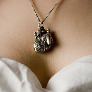 Anatomical Heart Pendant in antique silver