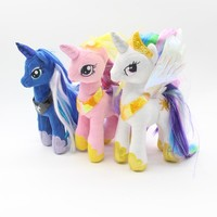 2017 New Arrival 23CM Fresh Plush Unicorn Princess Horse Stuffed Animals Toys Baby Infant Girls Toys Birthday Gift Rainbow Dash
