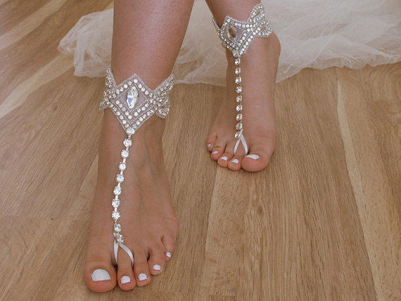 Rhinestone beach wedding barefoot from weddnggloves on etsy junglespirit Image collections