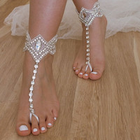 Rhinestone Beach wedding barefoot sandals, Bridal beach shoes, Beach wedding shoes