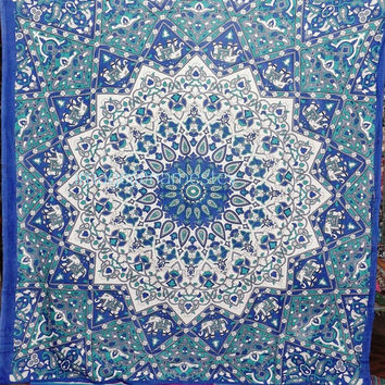 Blue hippie Star Tapestry,Queen Hippie Psychedelic Star Tapestry Throw,Dorm Tapestry, Bohemian Tapestry,Indian Bedspread Throw,Beach throw