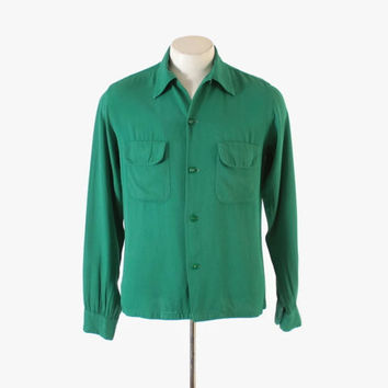 Vintage 50s MEN'S SHIRT / 1950s Rockabilly Gren Rayon Gab Loop Collar Shirt S - M