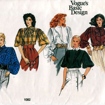 1980s VOGUE BLOUSE PATTERN Front Button Shirt Puff Sleeves Blouson Blouse Vogue 1082 Basic Design UNCuT Womens Sewing Patterns 80s Bust 38