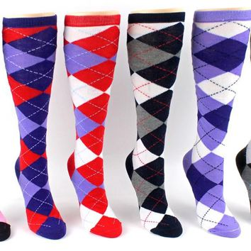 Dd Womens Knee High Computer Argyle Socks - Size 9-11(Pack Of 24)