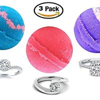 Ring Bath Bombs - Gift Set of Three Surprise Bath Bombs (5 oz ea) - Girls Gift Set of Pink, Blue, and Purple Bath Bombs with 92.5 Silver CZ Rings