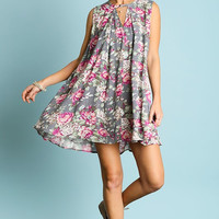 Umgee USA Gray Sleeveless Floral Swing Dress