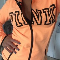 ONETOW Pink' Victoria's Secret Letter Print Zipper Sweatshirt Cardigan Jacket Coat