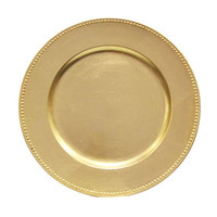 """Beaded 13"""" Charger Plates - Gold"""
